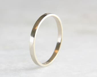 14k White Gold Ring, womens Wedding Ring, 2mm flat Wedding Band, Shiny or Matte Finish, Eco Friendly Recycled Gold, women men