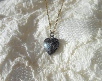 Black Heart Locket Necklace