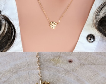 Lotus Necklace - Gold Lotus Necklace - Silver Lotus Necklace - lotus flower necklace - Lotus charm - Small Lotus Necklace - inspirational