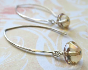 Pale topaz earrings faceted czech glass beads on long sterling silver earwires