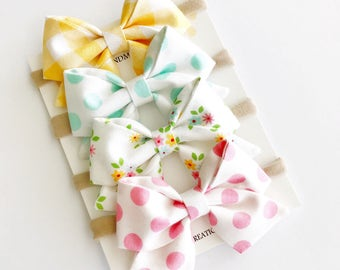 Pastel Easter Baby Headbands - Spring Baby Bows - Pastel Sailor Bows -Baby Bow Headband -Nylon Headbands Bows -Baby Girl Headband For Easter