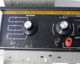Vintage BK Precision Dynascan Corporation Tri-Output Analog Power Supply Model 1650 - circa 1980 - from DustyMillerAntiques