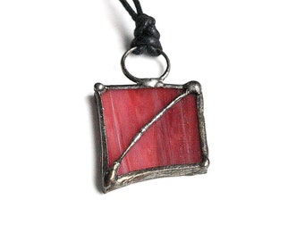Dark Pink Glass Necklace on Waxed Cotton Cord, Casual Upcycled Soldered Stained Glass Necklace