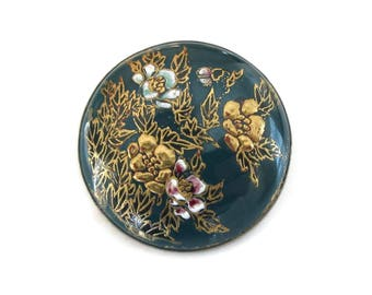 Japanese Satsuma Silver Brooch - Made in Japan, Silver Metal, Hand Painted Porcelain, Antique Brooch, Antique Jewelry