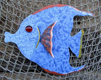 Metal Wall Art Tropical fish Sculpture Blue Recycled Metal Angel Fish Bathroom Beach House Coastal Sun Fish Wall Decor