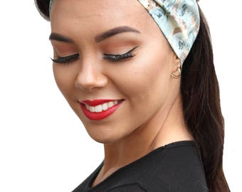Blue Floral Land Girl Rockabilly Pinup 50s Style Head Scarf