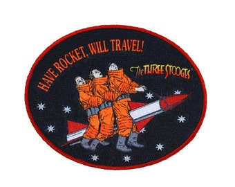 """Three Stooges Film Patch """"Have Rocket, Will Travel"""" Movie Fan Iron-On Applique"""