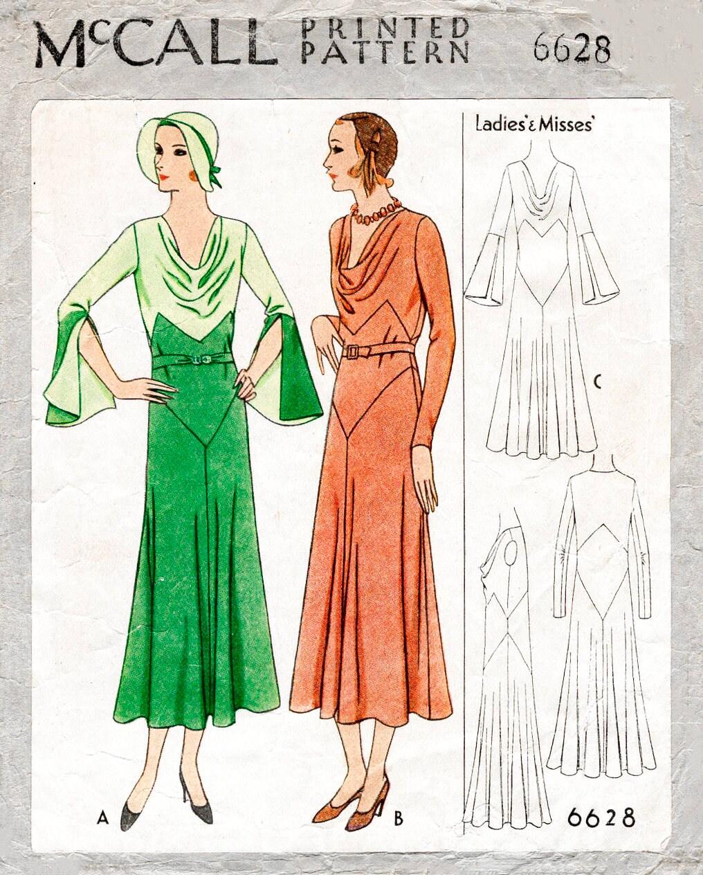 1930er Jahren 30er Jahre Kleid Vintage Nähen Muster