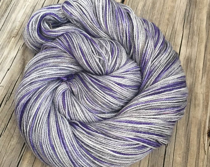 Sparkle Sock Yarn Amethyst Tie Dyed Yarn Hand Dyed Hand Painted 438 yards superwash merino nylon stellina fingering silver lavender purple