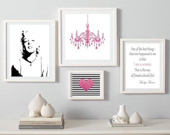 Exceptional Marilyn Monroe Prints, Marilyn Monroe Wall Art, Marilyn Set Of 4, Marilyn  Pink Fashion Set, Chandelier Poster, Heart Decor, Marilyn Quote