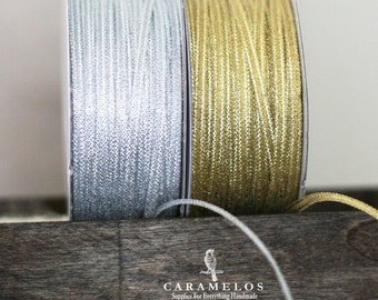 Bulk 100 yard roll of Narrow Metallic Ribbon in Silver or Gold 1/8""