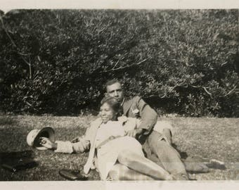 vintage photo 1929 African American Couple Relax in the Park Laying w Each Other
