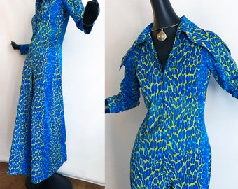 Leopard Bell Bottom Jumpsuit Vintage 1960s Rockabilly MOD Blue Green Animal Print Bellbottom Palazzo Pants Maxi Dress Gown Vanity Fair style