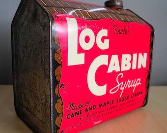 Towle's Log Cabin Syrup Tin 58 Oz. 1930s