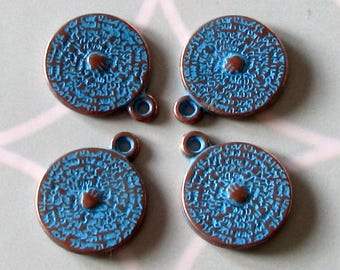 15 MM Disc Charm, Antique Copper & Blue Patina, 4 Pieces, AC207