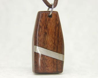 Rosewood and Stainless Steel Pendant Necklace