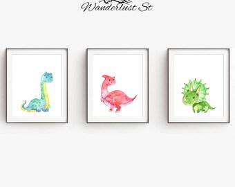 Dinosaur Nursery Prints, Dino Nursery Art, Dinosaur Kids Room Prints, Kids Room Decor, DIGITAL DOWNLOAD, Dinosaur Decor, Cute Little Dinos