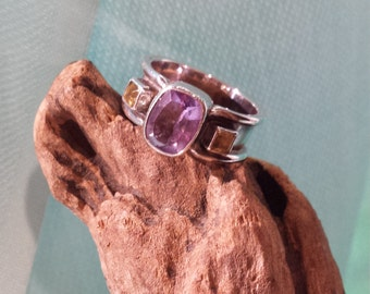 amythyst and citrine wide band sterling ring
