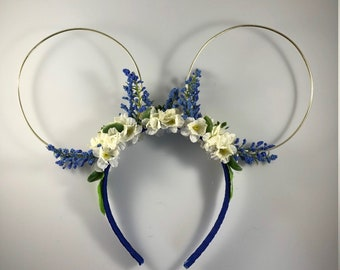 Floral Mickey Ears - Blue and White