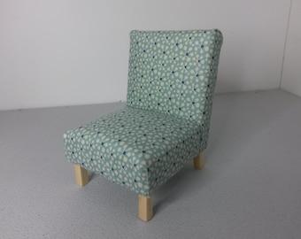 Modern Dollhouse Miniature Occasional Chair Aqua Retro 1:12 Scale
