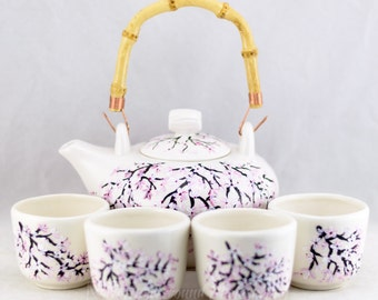 Teapot Set (6) Porcelain  - Bamboo Handle - Cherry Blossom Design - Hand Painted