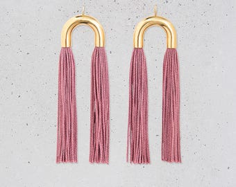 NEW Tassel Statement Earrings / long pink fringe / gold tube arch / holiday party jewelry