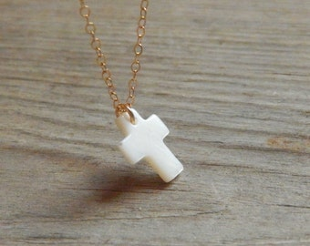 Dainty white cross necklace Mother of pearl cross necklace Everyday necklace Baptism gift Delicate necklace Cross Catholic