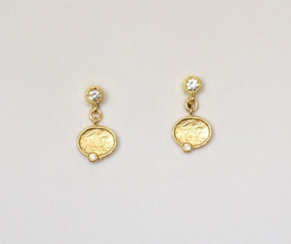 Cubic Zircon Charms with Cubic Zircon Posts Earrings , Gold Plated. .5 inch (1.2 cm) total length