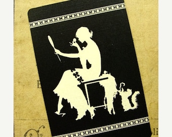 ONSALE Stunning Antique Art Deco Silhouette Cards Lot for Vanity or Altered Art