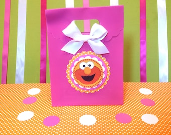 Elmo inspired girls party , Elmo Inspired treat bags, Sesame Street inspired party, This Price Is For A Single Bag!!