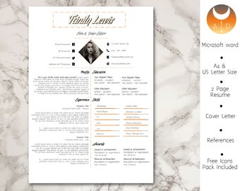 Resume Template • Modern & Professional Resume Template for Word • CV Resume + Cover Letter + Ref •  Instant Download Resume • 3 Page Resume