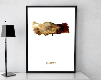 Turkey poster, Turkey art, Turkey map, Turkey print, Gift print, Poster