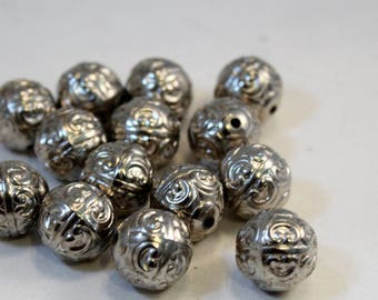 Sliver Plated CCB Acrylic Large Ornate Scroll Pattern Round Beads, 18mm Rounds
