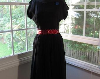Black Chiffon Dress, Red Sequin Belt and Blue Sequin Heart