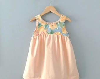 Ready to Ship, Aerinite Girls Dress, Girls Spring Dress, Peach Dress, Toddler Dress, Girls Easter Dress, Girls Floral Dress, Pastel Dress 3T