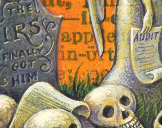 Taxes Surreal Painting Ineluctable Grim Reaper Halloween Skeleton Art Gothic Art Cemetery Angel Letter I Tax Accountant Gift