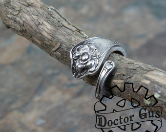 Poppy Flower Spoon Ring - Adjustable - Handmade by Doctor Gus - Beautiful Antique Inspired Flowery Boho Design Replica in Pewter - On SALE
