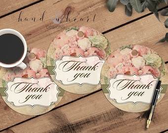Printable thank you tags,peony tags,vintage floral tags,circle tags,print and cut cards,3.5 in circles,6 per page
