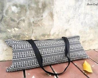 Handmade Black Tribal Woven Cotton Yoga Mat Tote,Pilates Bag Yoga Mat Bag,Tote