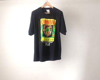 vintage FIJI black and neon CANNIBAL CAFE wild mid 90s y2k faded black size xl t-shirt