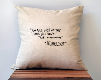 The Office Pillow Cover, Michael Scott Quote Pillow Cover, 18 x 18 Pillow Cover, The Office TV Show Gift, Graduation gift, black friday sale