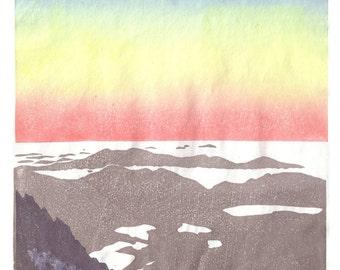 Dawn at the top of Carlit Peak (2971m) - Pyrenees mountains, hand pulled moku hanga woodblock print