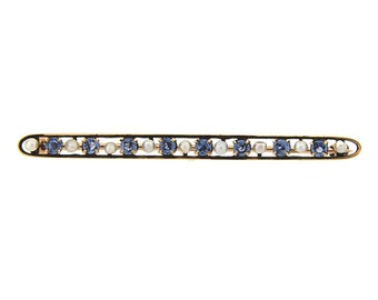 Sapphire and Seed Pearl Pin/Brooch