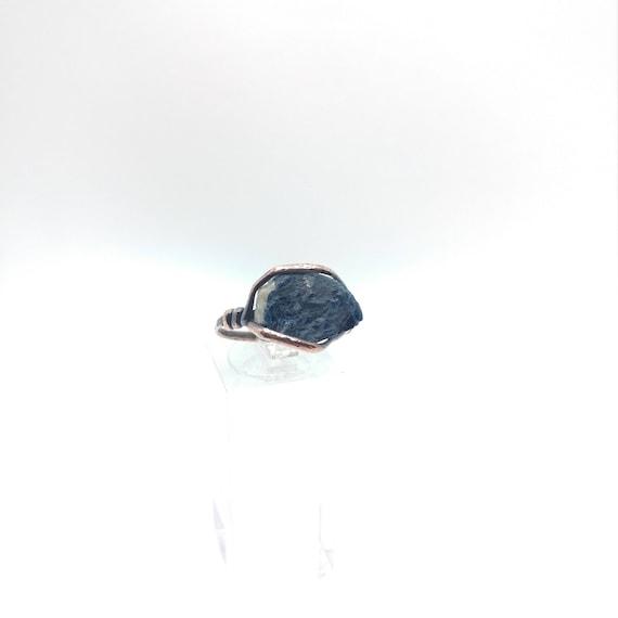 Rustic Mens Ring | Raw Tourmaline Ring | Copper Ring Sz 8.75 | Rough Tourmaline Ring | Rustic Ring | Blue Tourmaline Crystal | Boho Ring