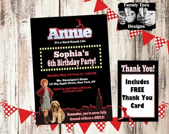 ORIGINAL ANNIE the Movie, Birthday Party Invitation, Flat Invite, Personalized, Printable