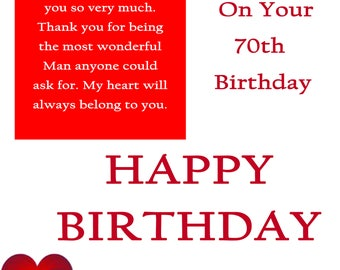 One I Love 70 Birthday Card with removable laminate