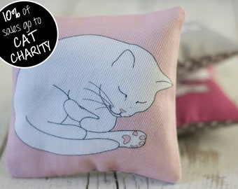 Sleeping Cat Lavender Sachet - Pink; Cat Lavender Bag; mini aromatherapy pillow; cat lover gift