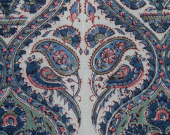 Oriental Tile Pattern in Blue, Fabric/India
