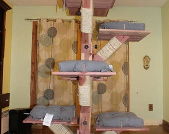 Cedar Cat Tree,cat tower,cat condo,cat furniture,animal towers ,cat art