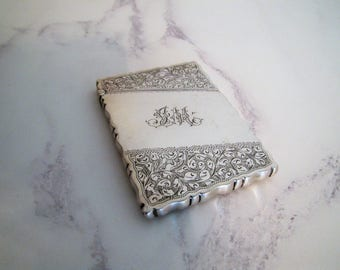 Antique Victorian Engraved Large Sterling Silver Card Case. John Millward Banks Birmingham. Personalized Initial JM. Luxury Gift For Him/Her